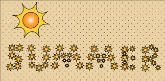 Summer sign banner. Summer sign made from little suns in the sand Royalty Free Stock Photos