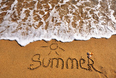 Summer sign on beach Royalty Free Stock Photo