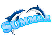 Summer sign with dolphins Royalty Free Stock Photography