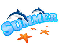 Summer sign with dolphins Stock Photos