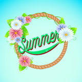 Summer sign with frame of flowers. Stock Photo