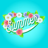 Summer sign with frame of flowers. Royalty Free Stock Photos