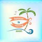Summer sign, retro typography, sea and beach logo Stock Photo
