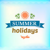 Summer sign, retro typography, sea and beach logo Stock Images