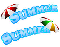 Summer sign with umbrella Stock Images