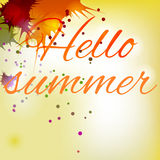 Summer sign yellow. Summer inscription yellow beautiful background Stock Images