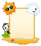 Summer signboard with penguin, sun character and smiling clouds Stock Image