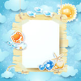 Summer signboard on sky background Royalty Free Stock Image
