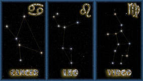 The summer signs of the zodiac. The three summer signs of the zodiac with identification of the constellations and symbols used to identify them royalty free illustration