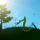 Summer. Silhouettes of a happy family of the father and the child, illustration Stock Photo
