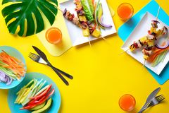 Hawaiian chicken grilled kabob summer food concept. Summer simple recipe for grilling, hawaiian chicken kabobs served with freshly diced vegetables and some royalty free stock photos