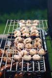 Summer Sizzle Shrimp BBQ on Grill. BBQ Shrimp in the Summer Royalty Free Stock Image