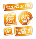 Summer sizzling offers, savings and sale stickers Royalty Free Stock Photos