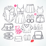 Summer sketch clothing Royalty Free Stock Image