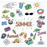 Summer sketch set. Summertime doodle design symbols colourful stickers set Royalty Free Stock Image