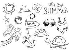 Summer sketches. Vector hand drawn summer sketches Stock Image