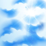 Summer sky. Cloudy summer sky with rays of sun, eps10 vector illustration Stock Photography