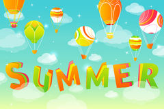 Summer sky background. With stars, clouds and balloons in vector royalty free illustration