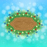 Summer. Sky, blur. Wooden signboard. Concept Summer. Sky, blur. In the center wooden signboard around the field grass, herbs and flowers. Place for text Royalty Free Stock Photos