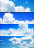 Summer sky and clouds banners set. Collection Royalty Free Stock Photography