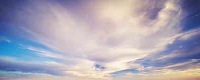 Summer sky clouds. Clear atmosphere stock images