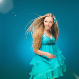 Summer. Sky. Girl in a sundress. Royalty Free Stock Photography