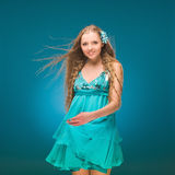 Summer. Sky. Girl in a sundress. Royalty Free Stock Images