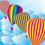 Summer Sky With Hot Air Balloons. Summer Background - Blue Sky With Hot Air Balloons / Vector stock illustration