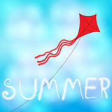 Summer sky with kite illustration Stock Photography