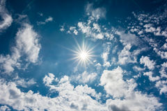 Summer Sky With Sun And Clouds Royalty Free Stock Image