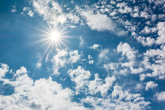 Summer Sky With Sun And Clouds Royalty Free Stock Images