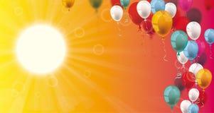 Summer Sky Sun Sunbeam Colored Balloons Header Stock Photos