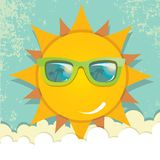 Summer sky with sun with sunglasses Stock Photo