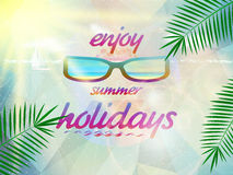 Summer sky with sun wearing sunglasses. Royalty Free Stock Images