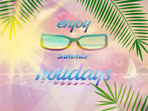 Summer sky with sun wearing sunglasses. Royalty Free Stock Photos