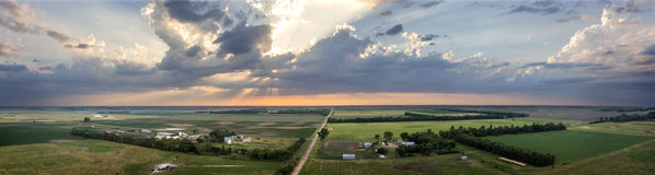 Summer SkyScape Aerial Panoramic. Aerial Midwest cloudscape panorama over South Dakota Royalty Free Stock Photos