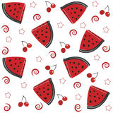 Summer Slices of watermelon and cherry seamless pattern Stock Photo