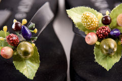 Summer slipper with fruit. Original slipper with vegetation and flowers like a decoratation Stock Photo