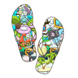 Summer slippers abstract design vector Royalty Free Stock Images