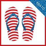 Summer slippers with USA flag design. vector illustration eps 10. Summer slippers with USA flag design. the vector illustration eps 10 stock illustration