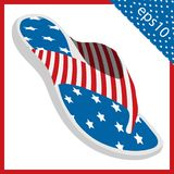 Summer slippers with USA flag design. vector illustration eps 10. Summer slippers with USA flag design. the vector illustration eps 10 royalty free illustration