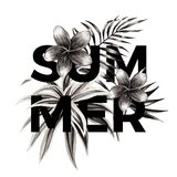 Summer slogan. Black and white floral print. Slogan summer on a background of exotic tropical flowers plumeria and palm leaves. Print floral jungle shirt in a Royalty Free Stock Photo
