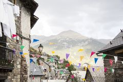 Small village from the mountains celebrate a party stock images
