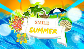 Summer-smile. Bachground with elements and flowers  and sun and sea Stock Photo