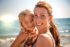 Summer smile beach family stock photography