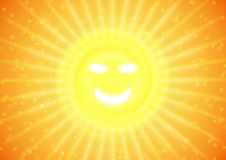 Summer smile on sun. Illustration of summer sun, positive feelings with smile Royalty Free Stock Photography