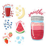 Summer smoothie with cranberry juice, banana, watermelon, strawberries and blueberries. Vegetarian cocktail in a glass Royalty Free Stock Image