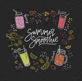 Summer Smoothie handwritten inscription surrounded by refreshing healthy drinks or fresh tasty beverages and outlines of. Tropical fruits, berries, vegetables Royalty Free Stock Images