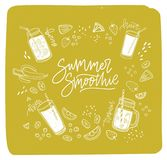 Summer Smoothie lettering written with cursive font surrounded by refreshing drinks or fresh delicious beverages and. Outlines of exotic fruits, berries Royalty Free Stock Photo