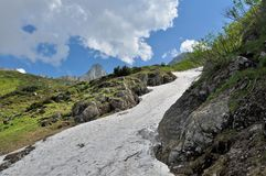 Summer snow in Carpathians mountains Stock Photo